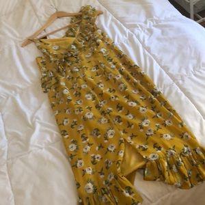 Nasty Gal Dresses - Never worn nasty gal midi yellow floral dress